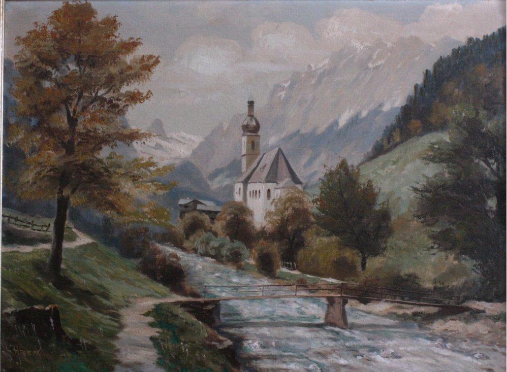 Alpenlandschaft mit Kapelle und Fluss, zweite Hälfte 20. Jh.-1