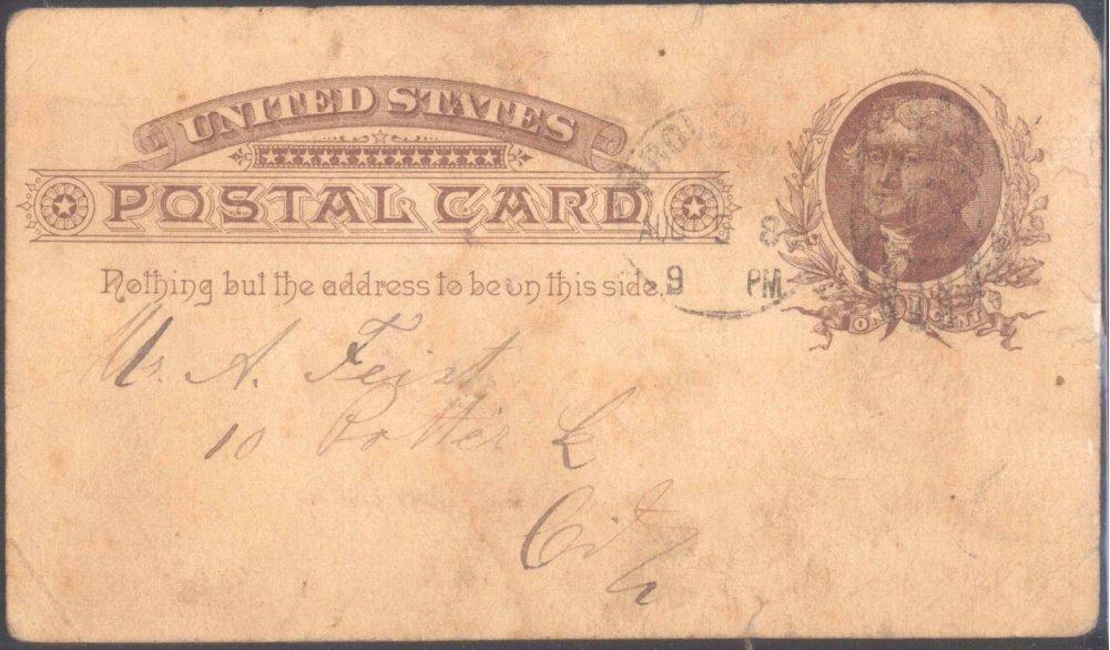 USA 1880, Ganzsache mit rückseitig deutschem Text-1