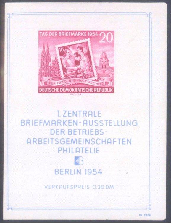 1954 DDR, Tag der Briefmarke Block mit VERSCHNITT!!