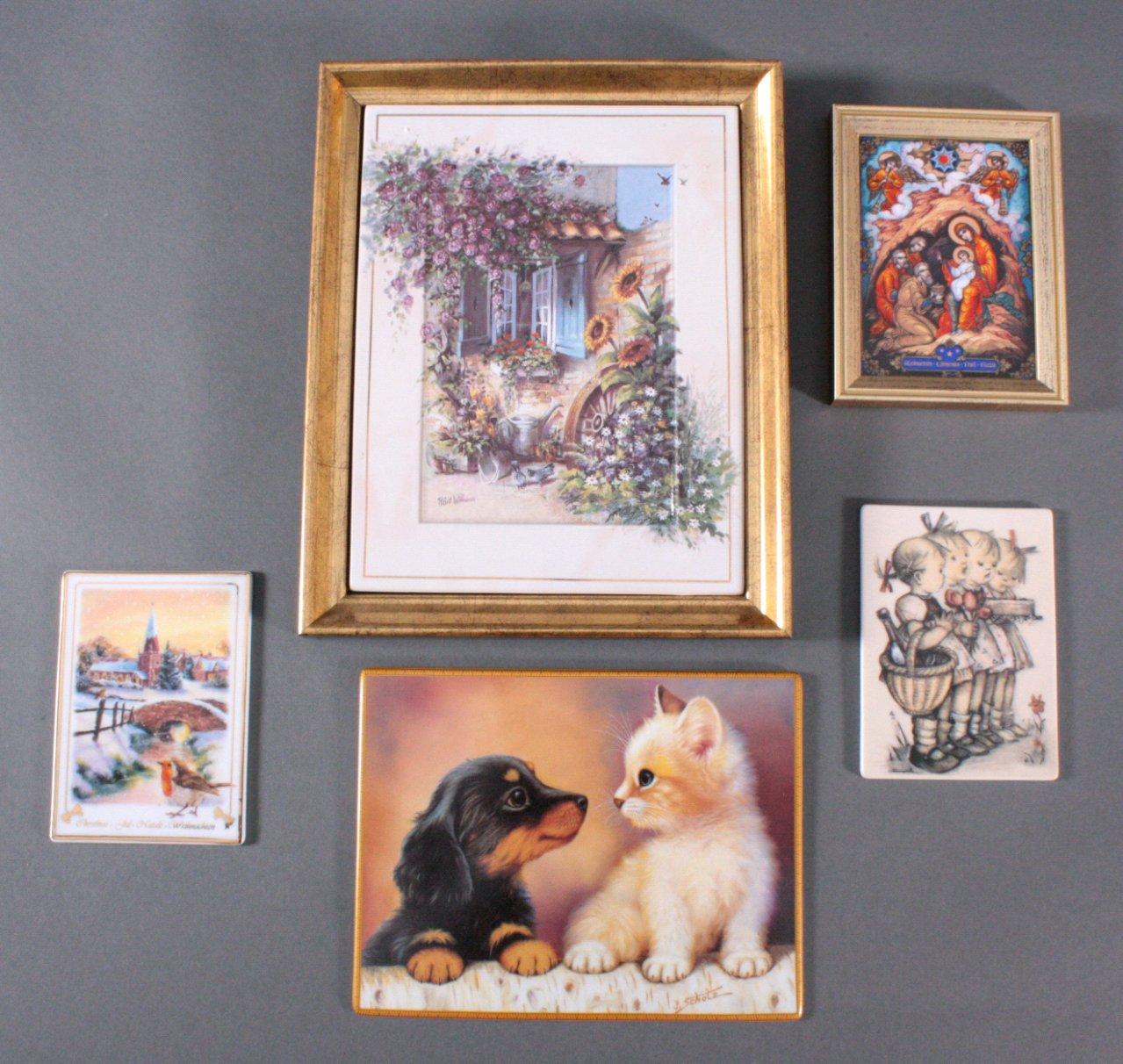 6 Porzellanbilder, dabei auch Hummel