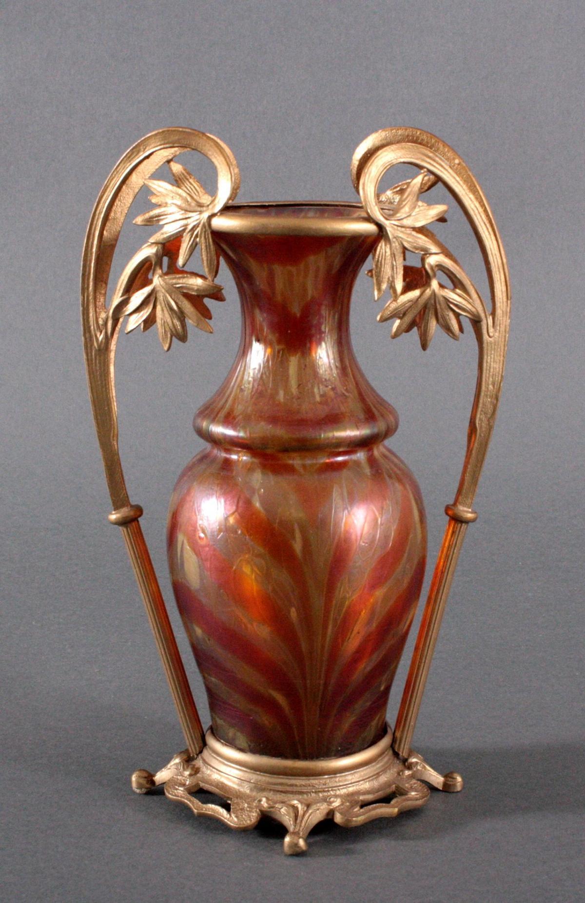 Jugendstil Vase mit Metallmontierung