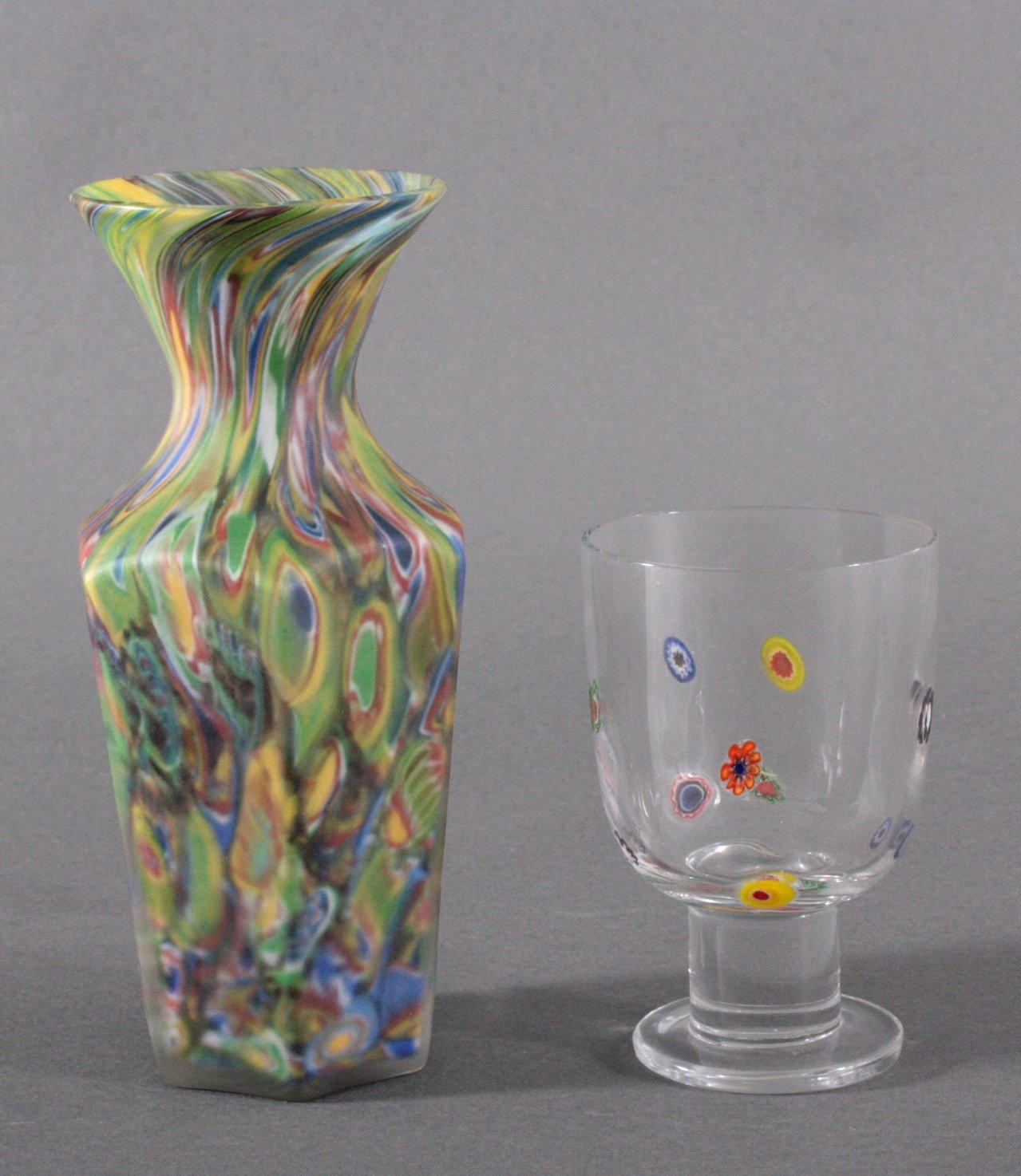 Millefiori-Vase und -Glas, Murano 20. Jh.