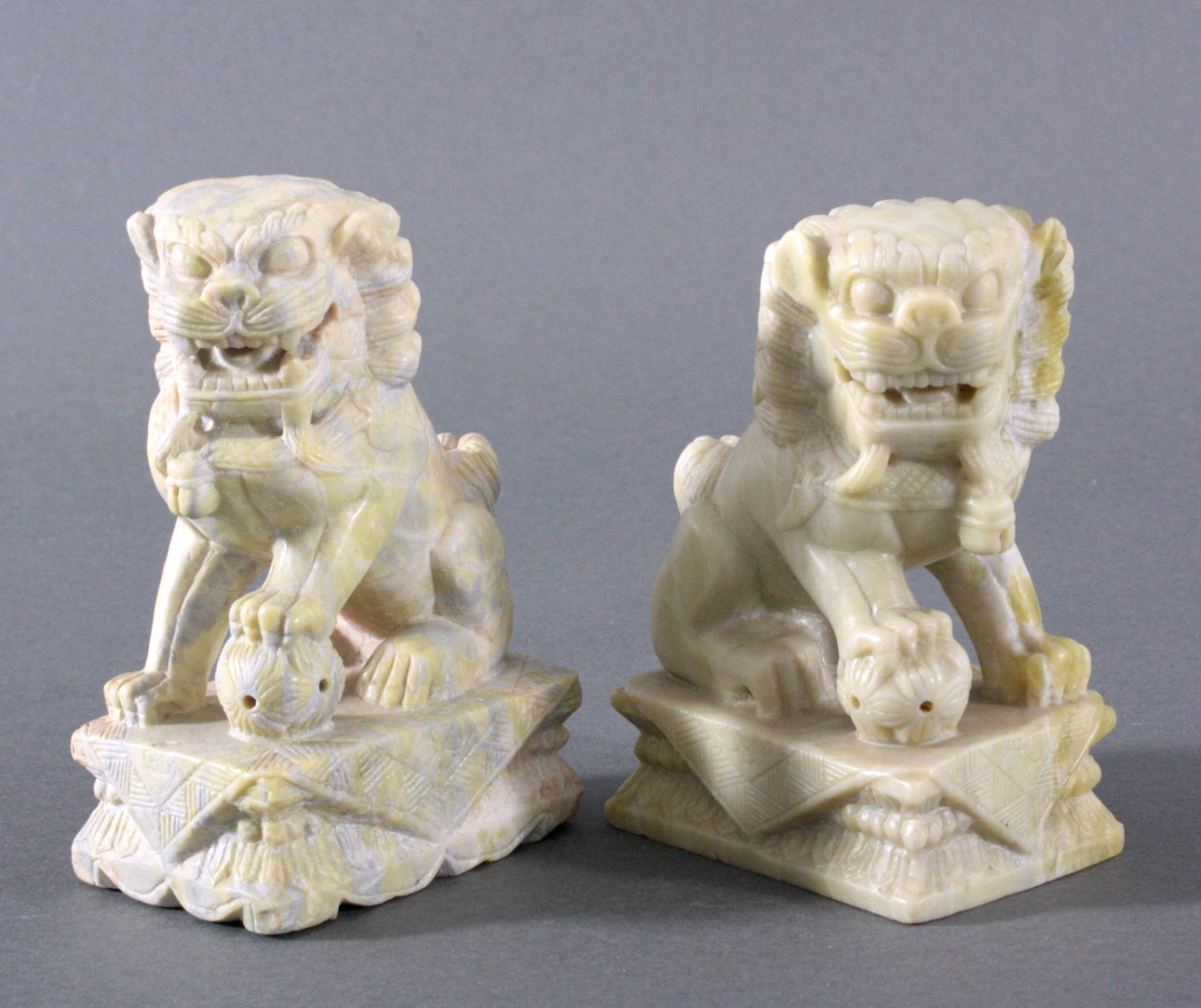 Paar Jade Fo-Hunde/Wächterlöwe