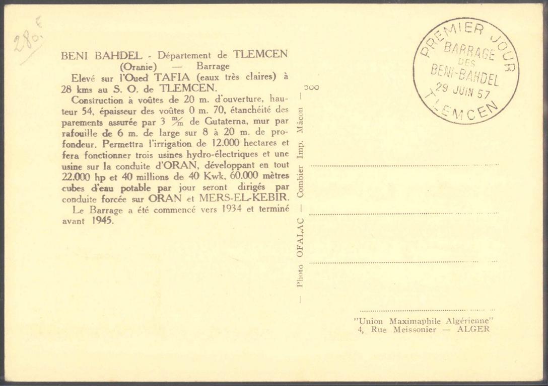 ALGERIEN 1957, TLEMCEN, Flugpost-1