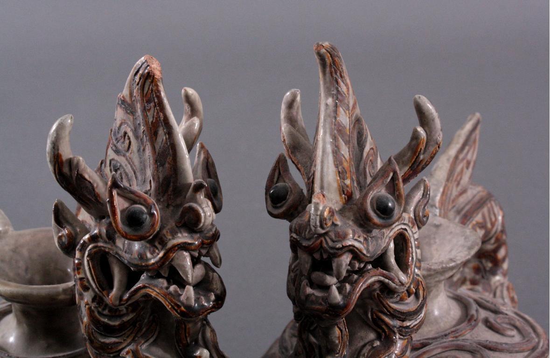 Paar Vorratsgefäße in Form von Drachen-2