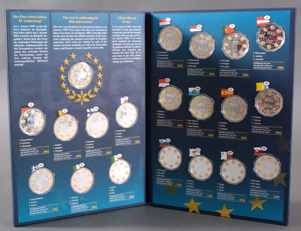 Komplettes Set Medaillen, 10 Jahre Euro