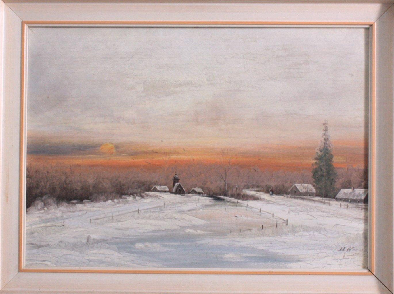 "Gemälde. ""Winter Landschaft"". H. Werner"