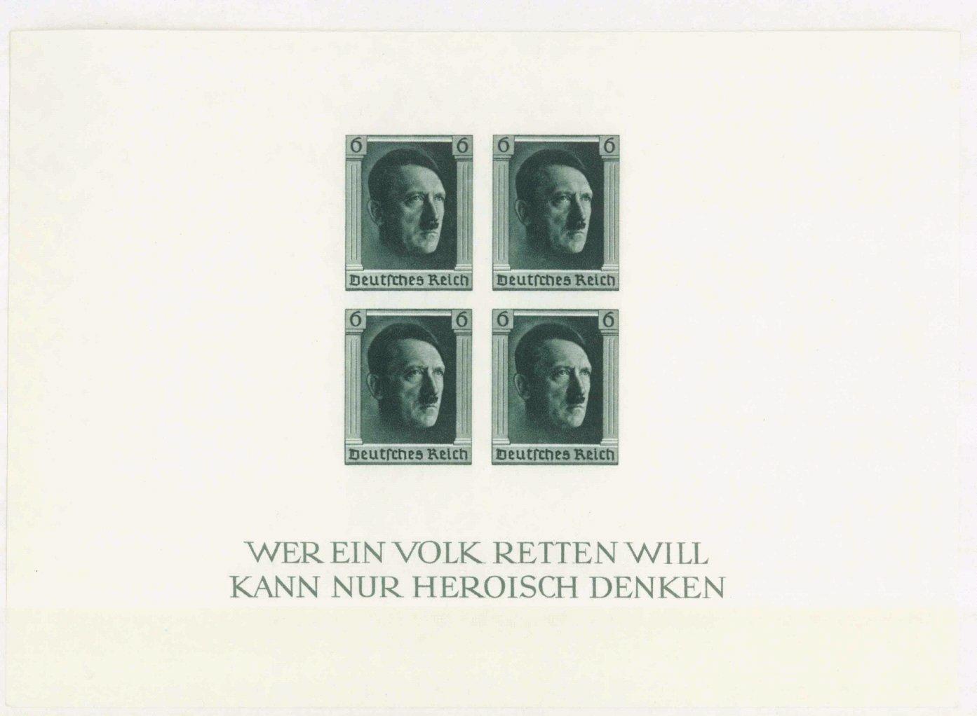 III. Reich 1937, Hitler – Blockausgabe Deutsche Briefmarke