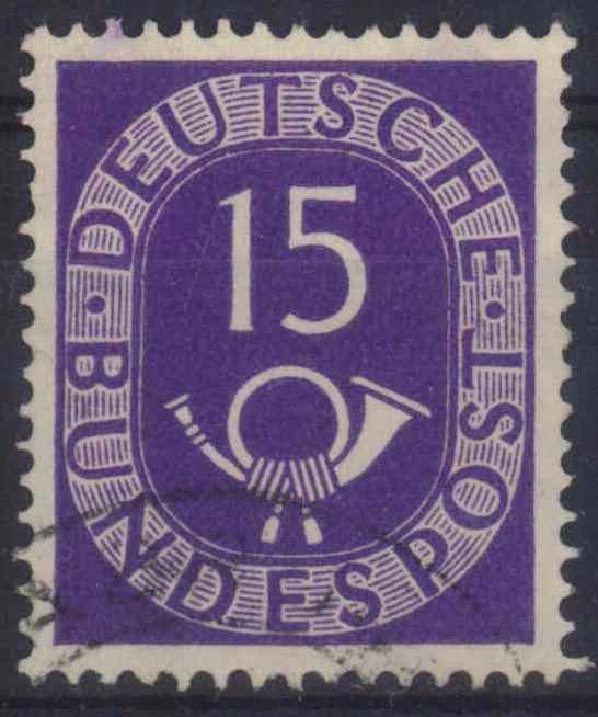 1951 BUND, 15 Pf. POSTHORN Plattenfehler III, KW 350,-Euro
