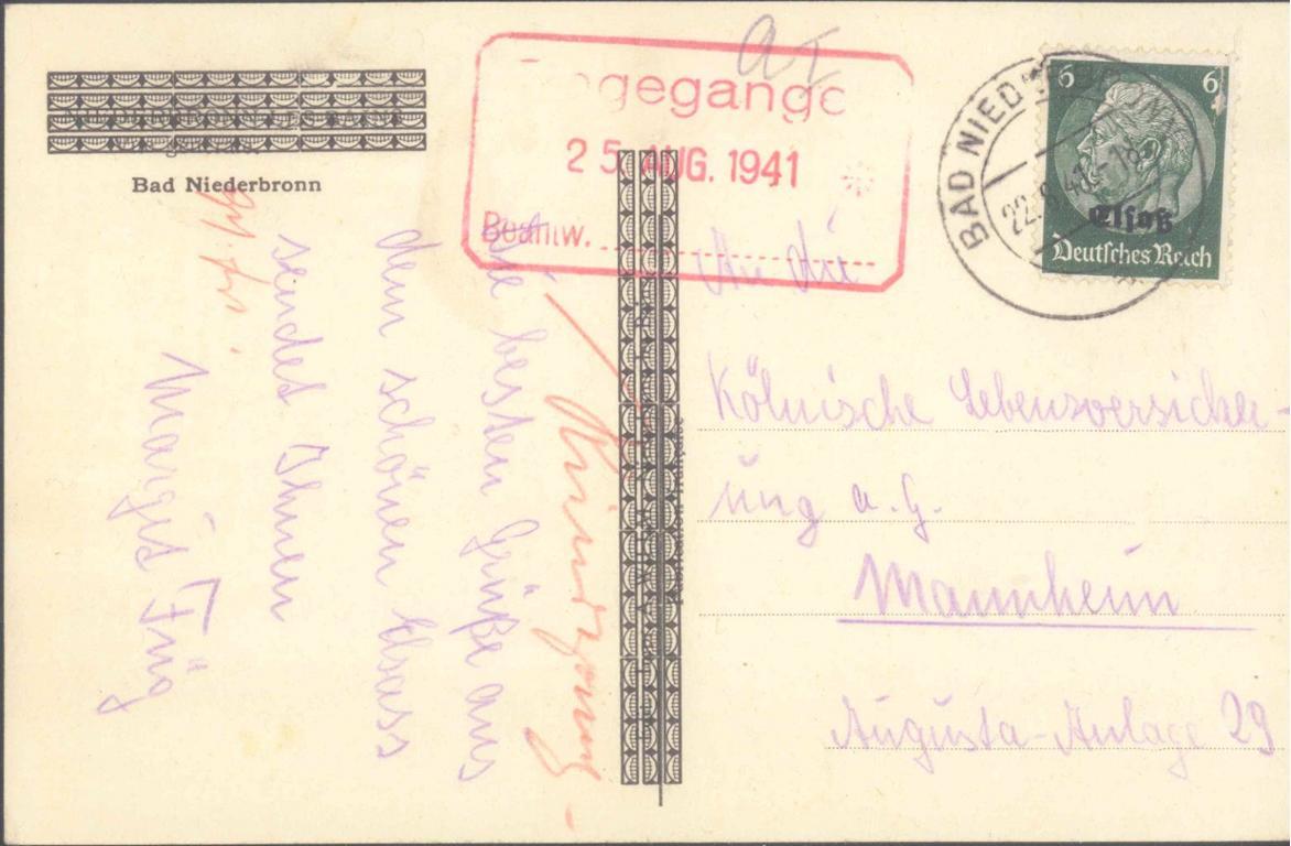 ANSICHTSKARTE BAD NIEDERBRONN ELSAß 1941-1