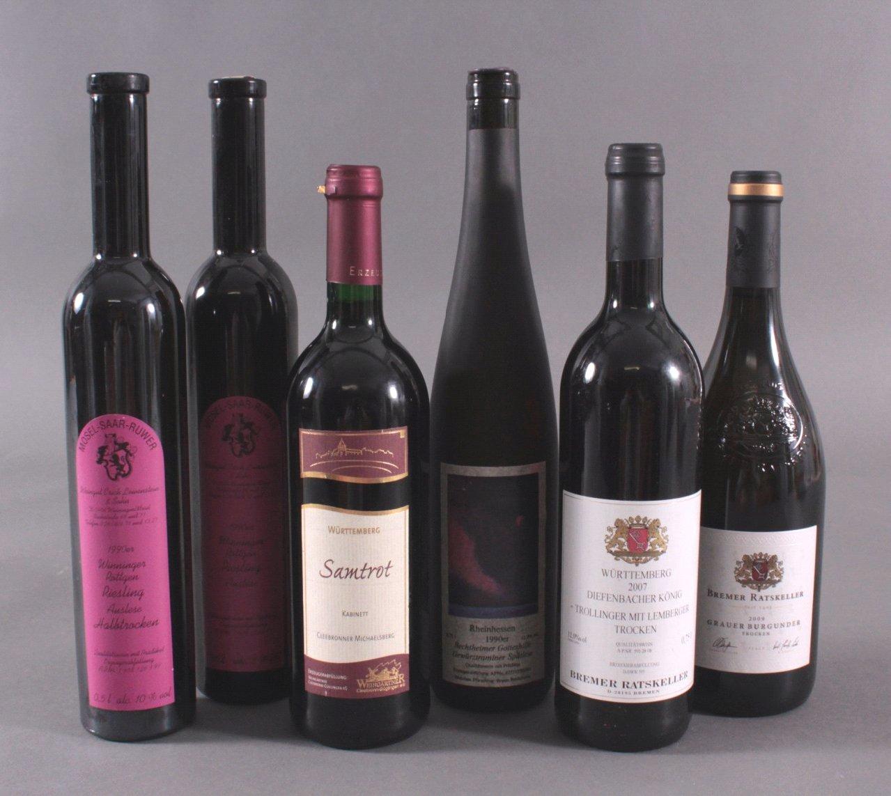 6 Flaschen Rotwein, Verschiedene Sorten