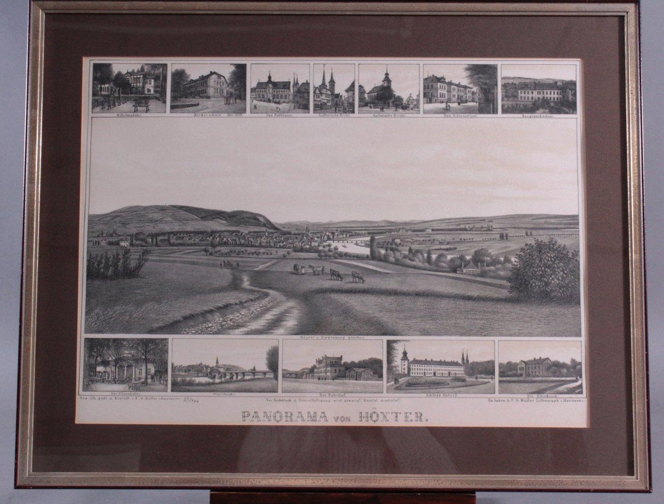 Lithografie. Panorama von Höxter