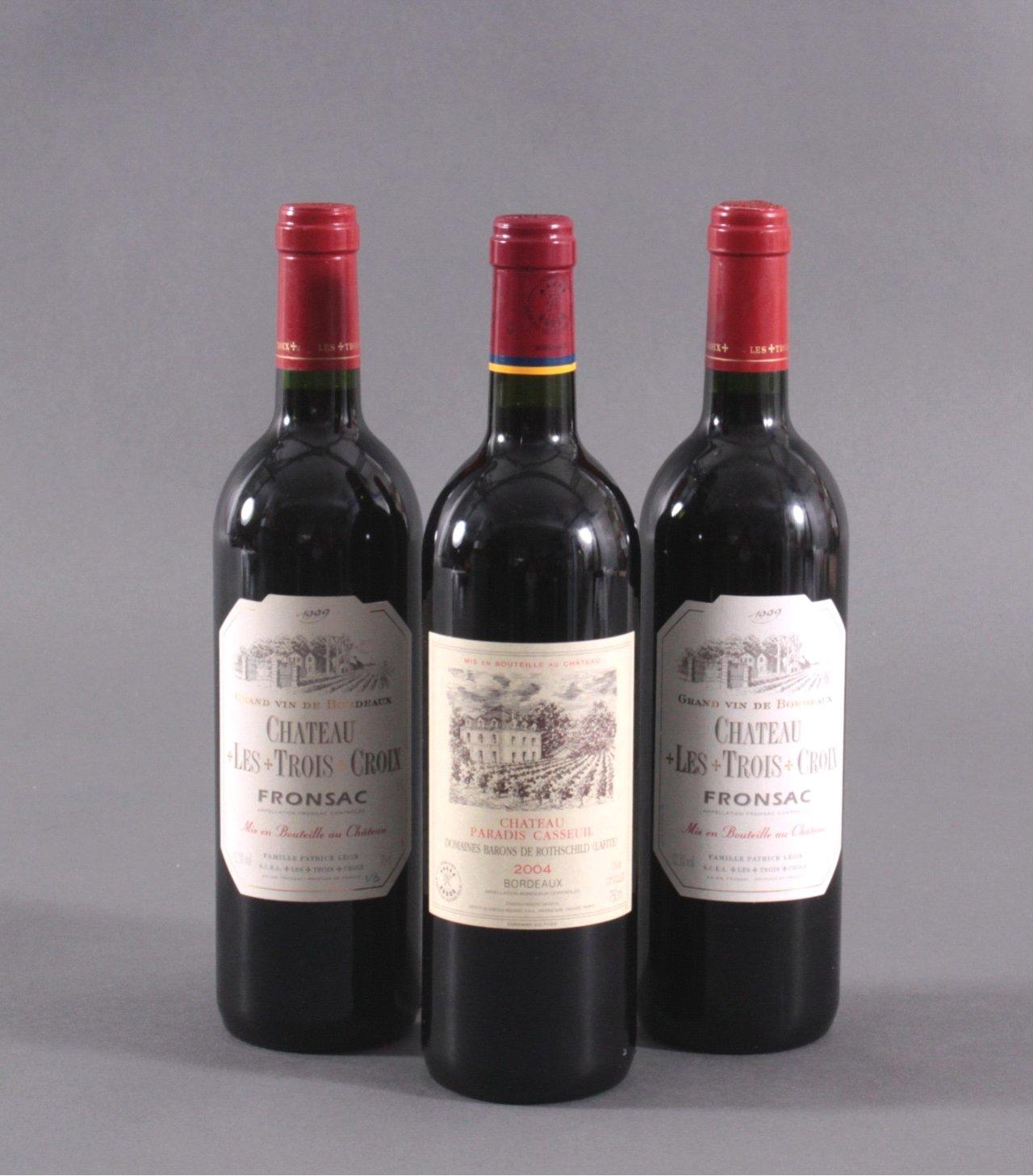Drei Flaschen Rotwein – Bordeaux