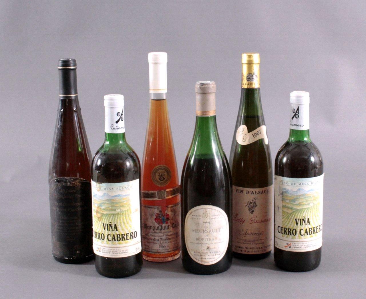 Sechs Flaschen Weißwein
