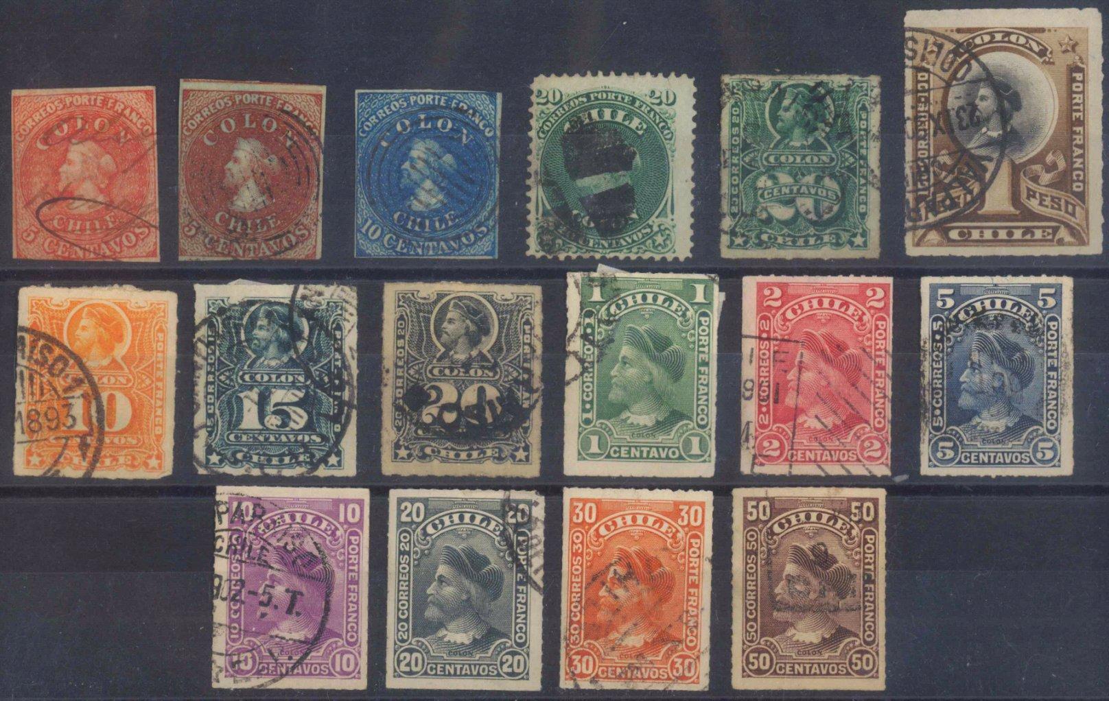 CHILE, klassische Marken ab 1853 (COLON)