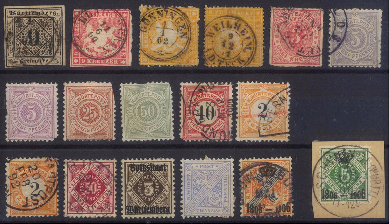 WÜRTTEMBERG, klassische Marken ab 1851
