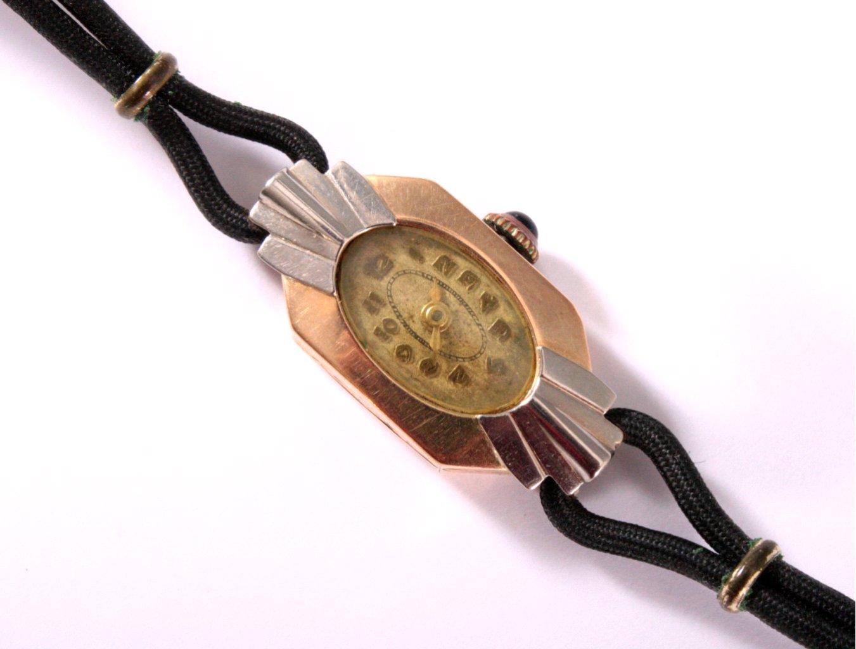 Goldene Art Deco Damenarmbanduhr-1