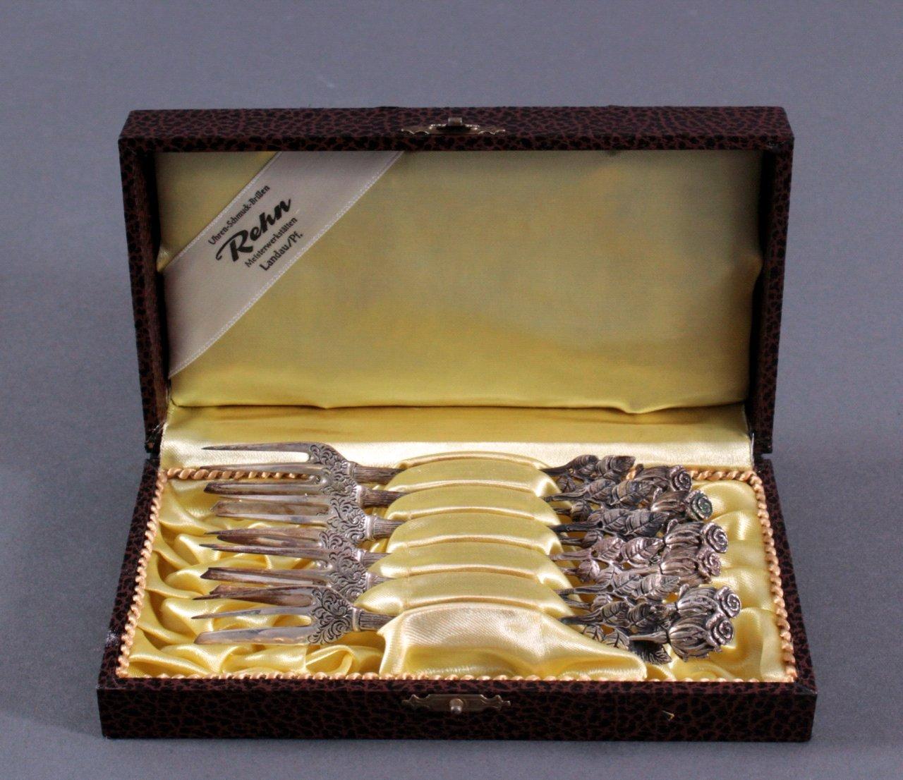 Hildesheimer Rose Kuchengabel, 800er Silber