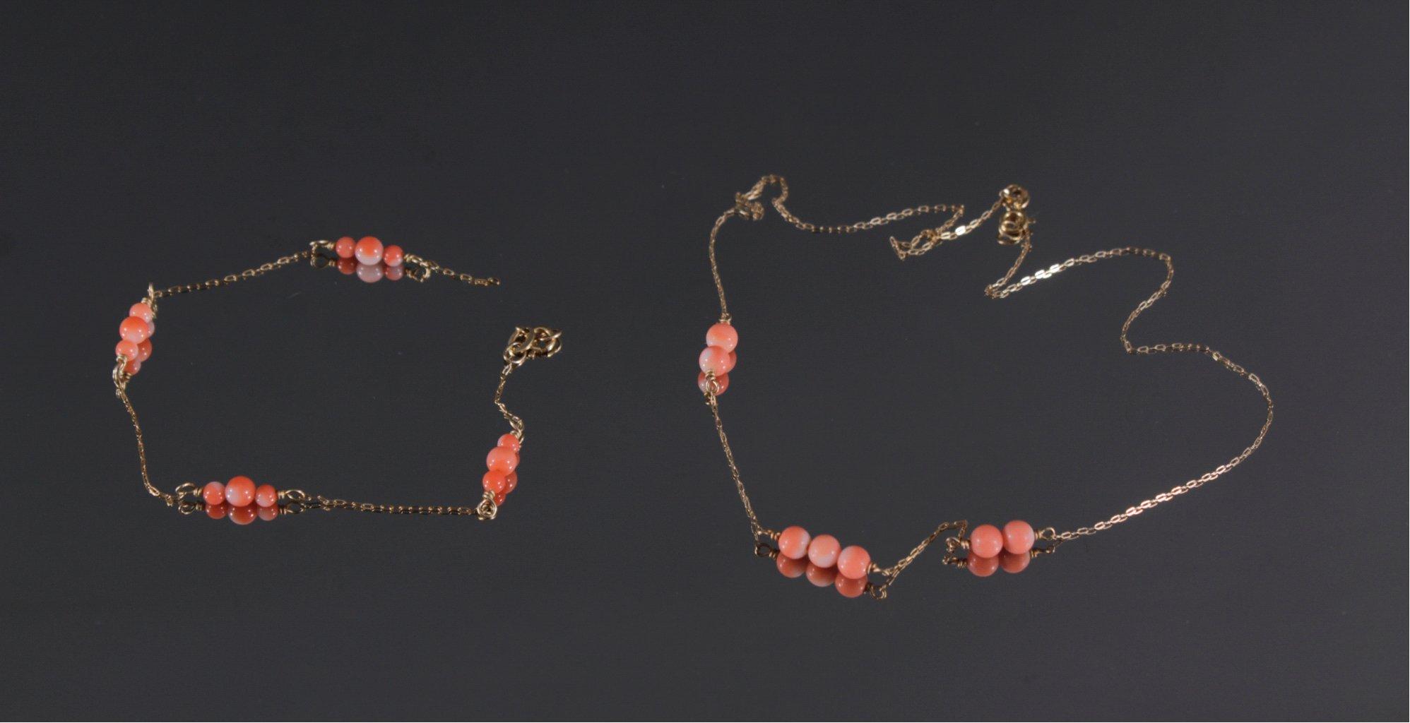 Kinderhalskette und Armband mit roter Koralle
