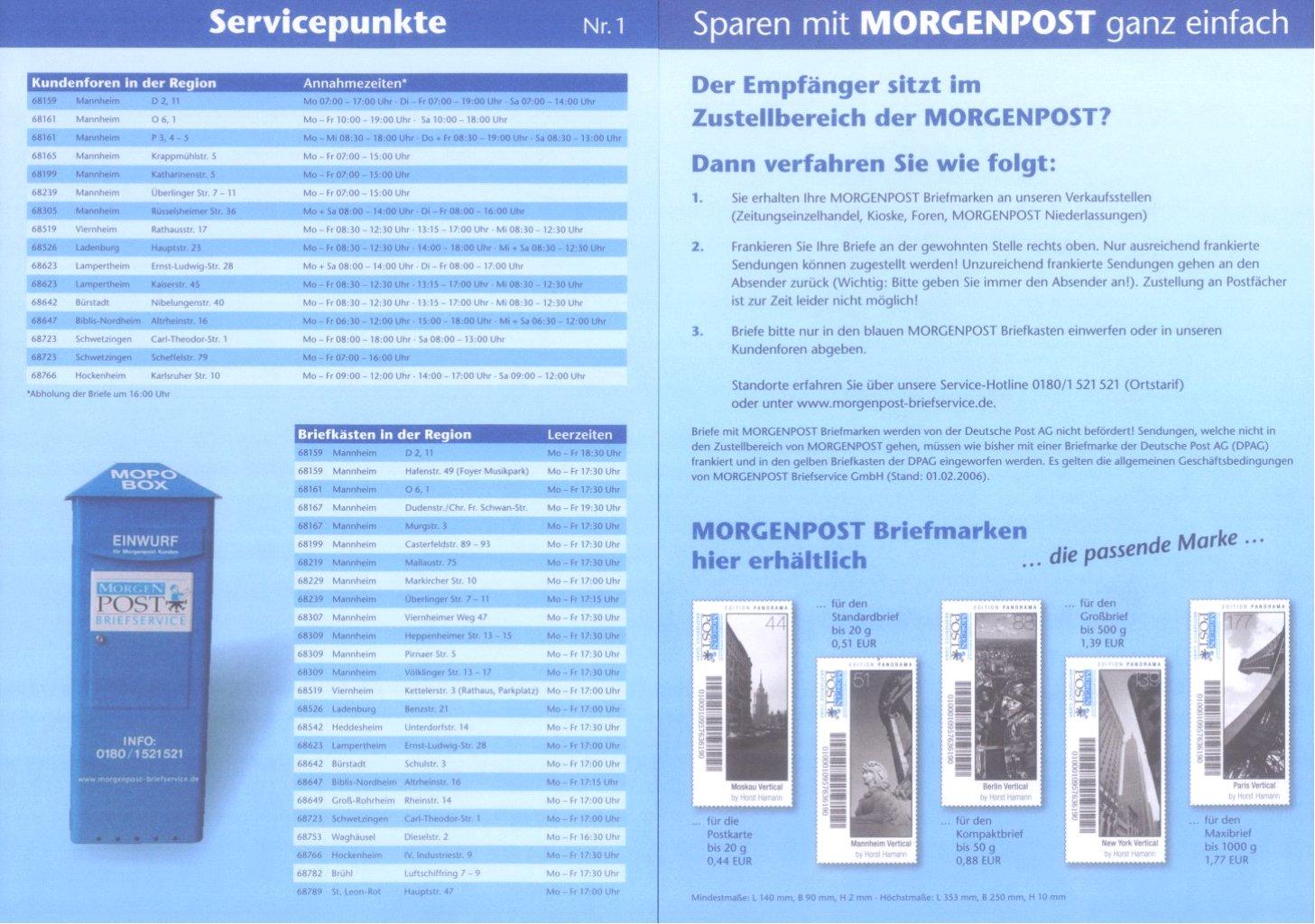 """Deutschland Privatpost 2006-2008 """"Morgen Post"""" Mannheim-2"""