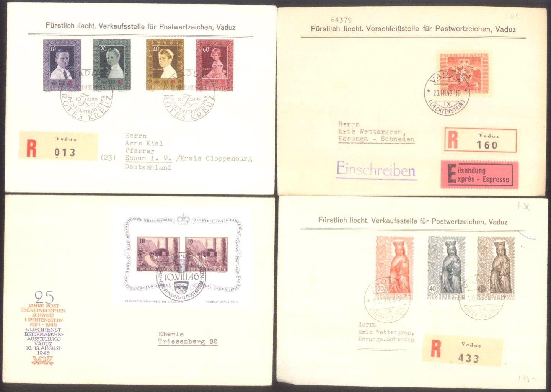 12 FDC Liechtenstein der 1940er bis 1960er Jahre