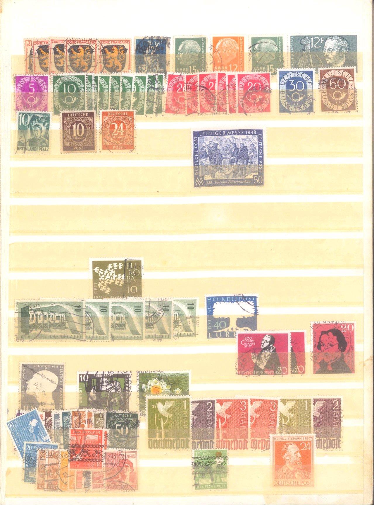 4 Briefmarkenalben, Alle Welt mit BRD und DDR