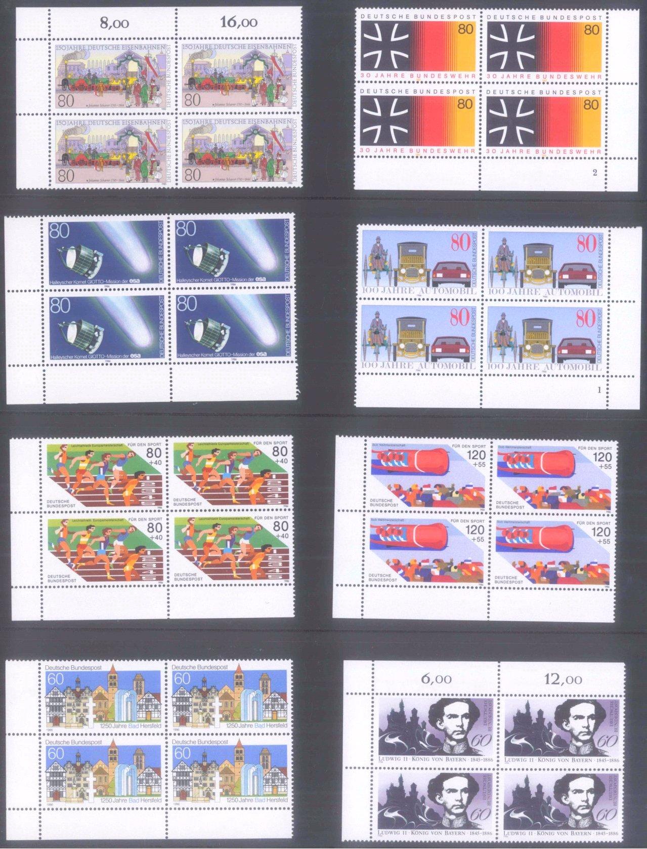 Sammlung Bund Zusammendrucke, 10er-Bögen, 4er