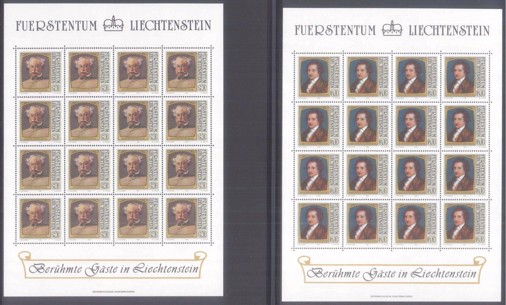 Fürstentum Liechtenstein Bögen 1962-1993-3