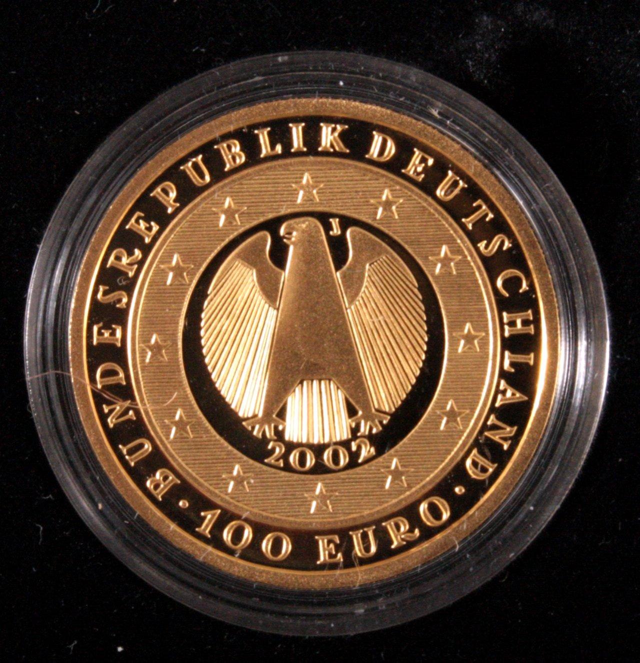 Erste deutsche Euro Goldmünze, 100 Euro-1
