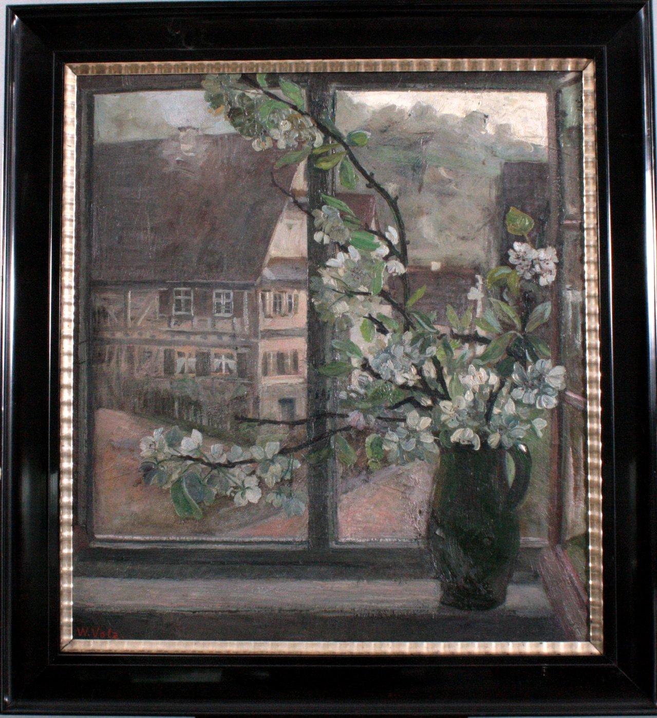 W. Volz (1855-1901), Fensterblick mit Fachwerkaus und Blumen