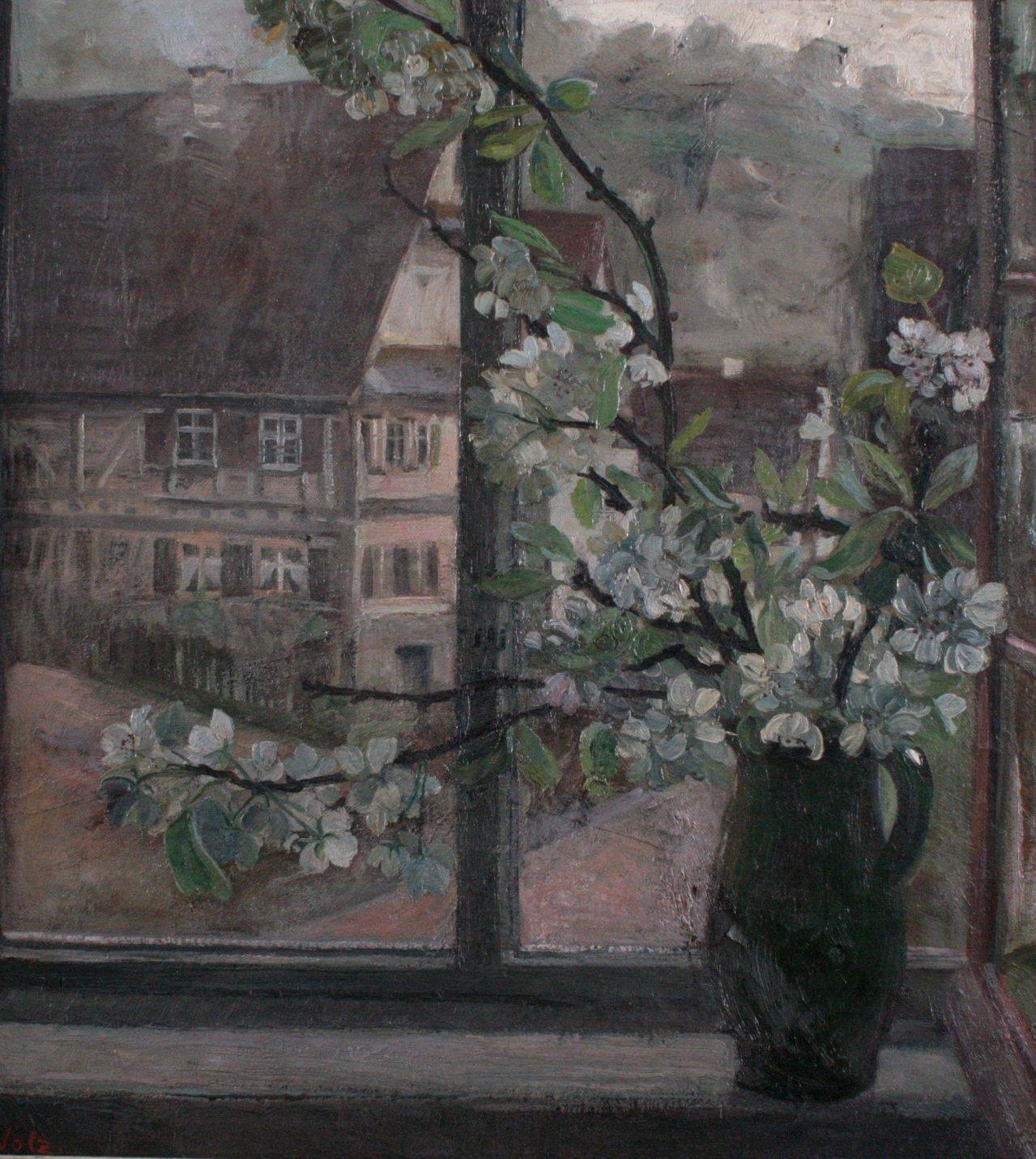 W. Volz (1855-1901), Fensterblick mit Fachwerkaus und Blumen-1