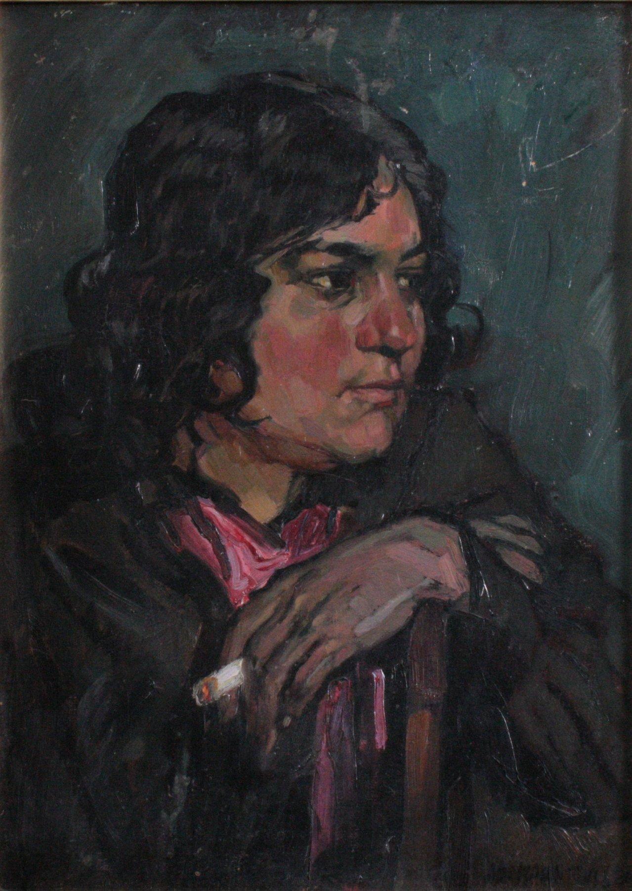 Hans Adolf Müller 1888-1934, Damenportrait mit Zigarette-1