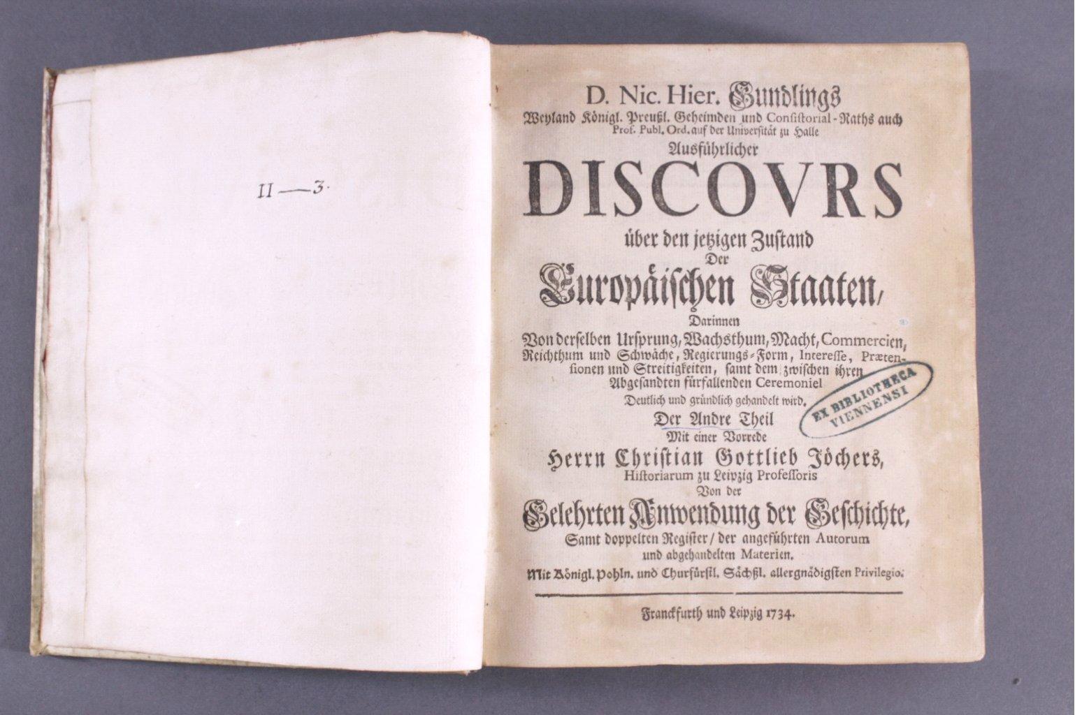 D. Nic. Hier Gundlings Discours, 1734-2