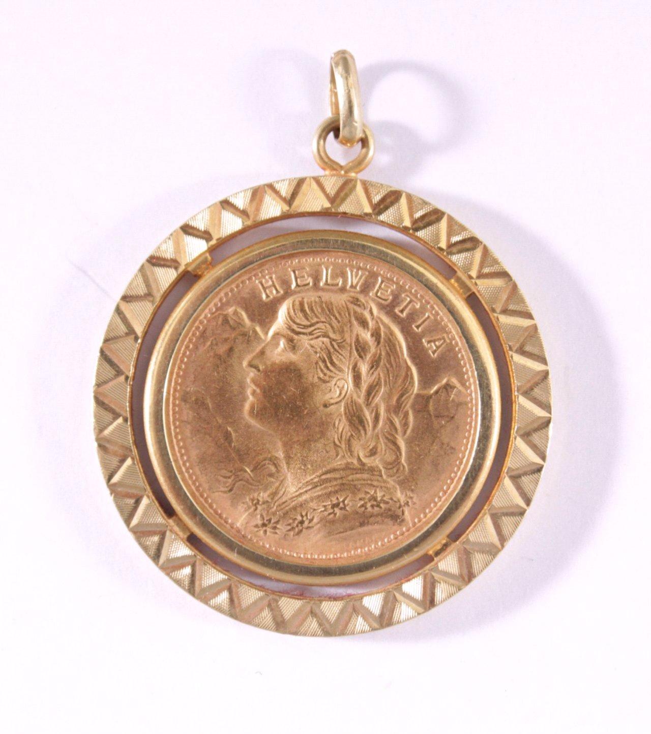 Anhänger mit Münze, Vreneli 20 Franken Gold v. 1947 B