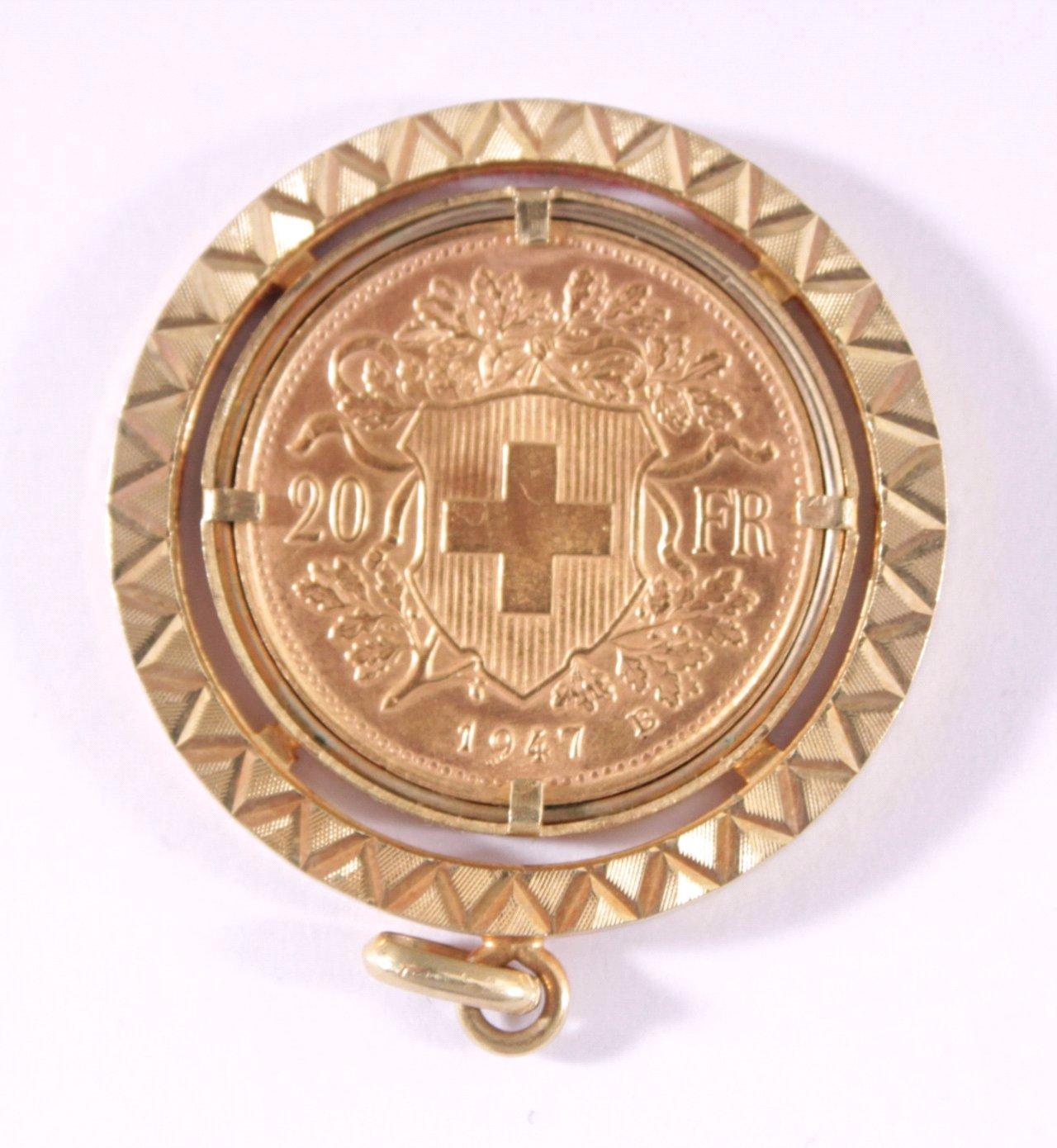Anhänger mit Münze, Vreneli 20 Franken Gold v. 1947 B-1
