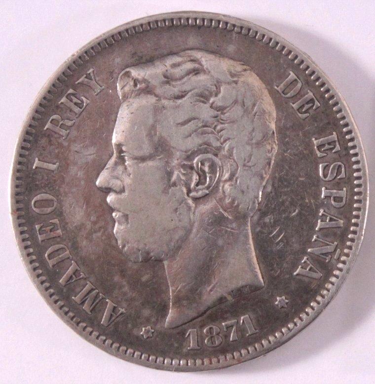 Könogreich Spanien, 5 Pesetas 1871