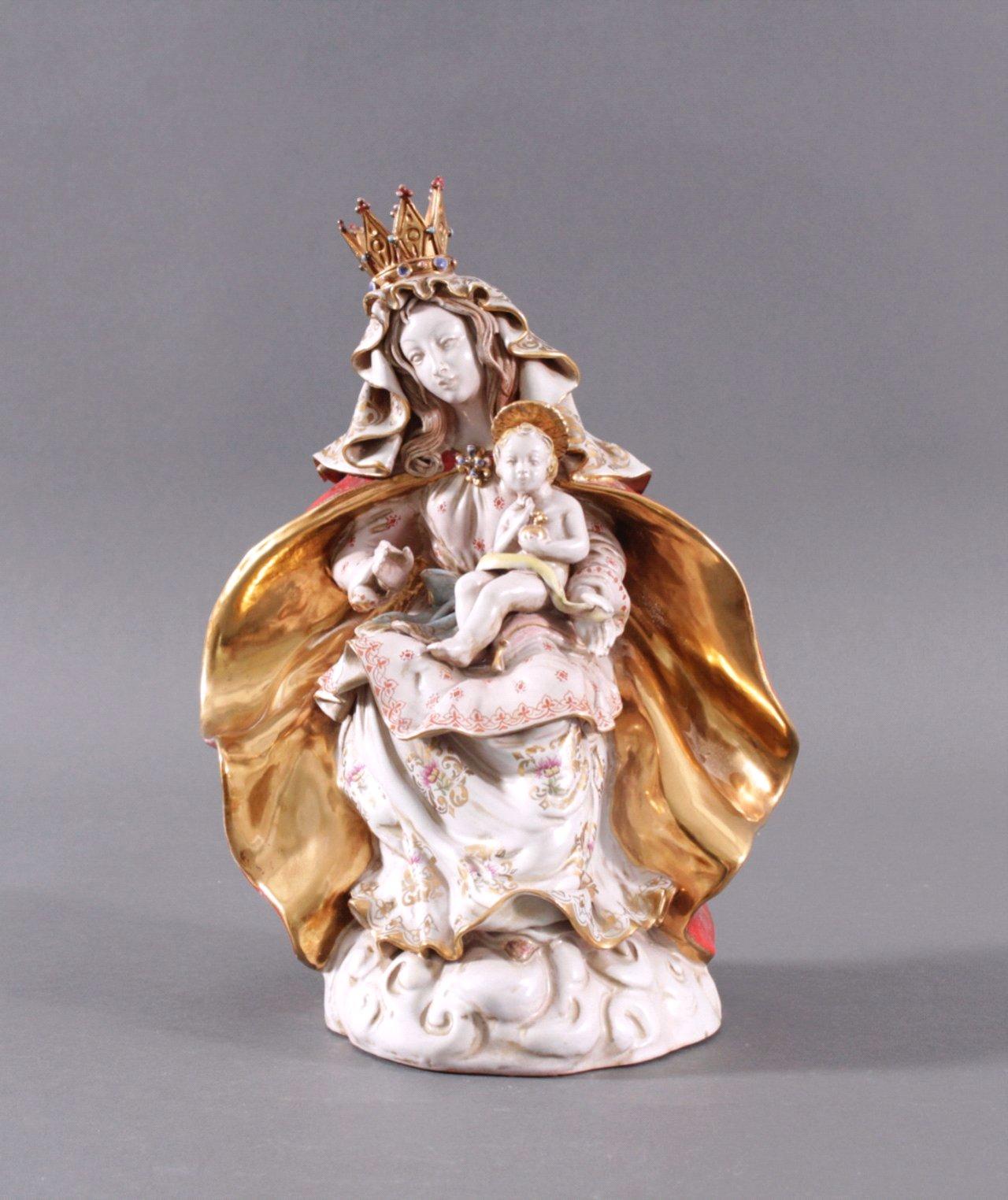Italienische Keramikfigur, Maria mit Kind