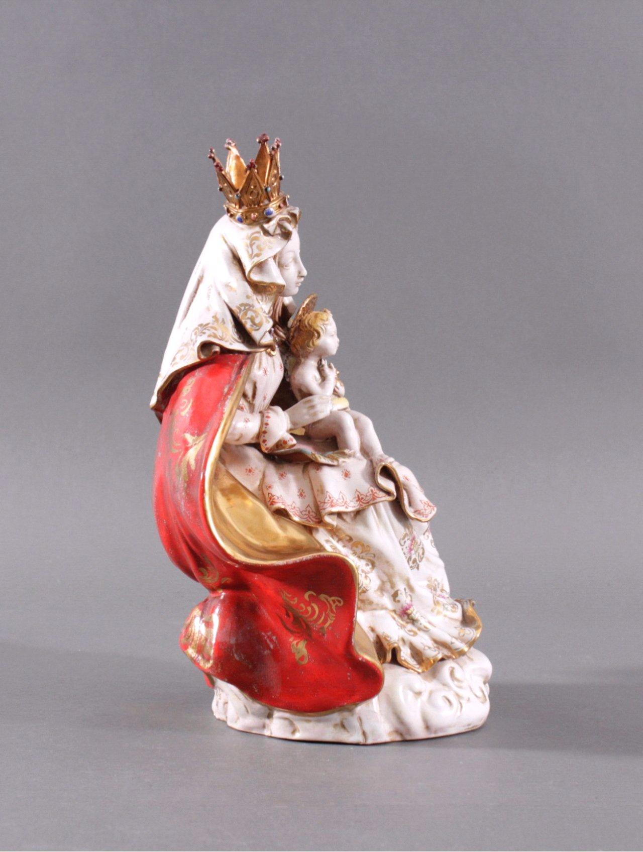 italienische keramikfigur maria mit kind badisches auktionshaus. Black Bedroom Furniture Sets. Home Design Ideas