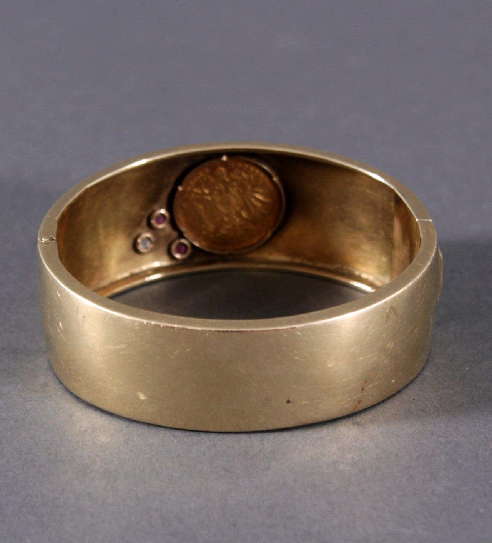 Damenarmband mit gefasster Münze, 2 Rubinen und 1 Diamant-1