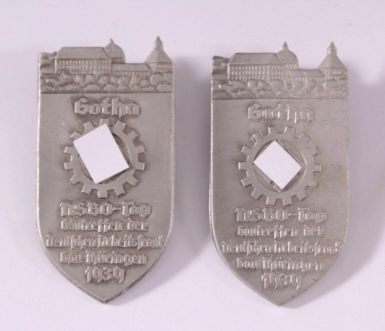 2x Tagungsabzeichen, Gotha NSBO-Tag Gautreffen, 1939