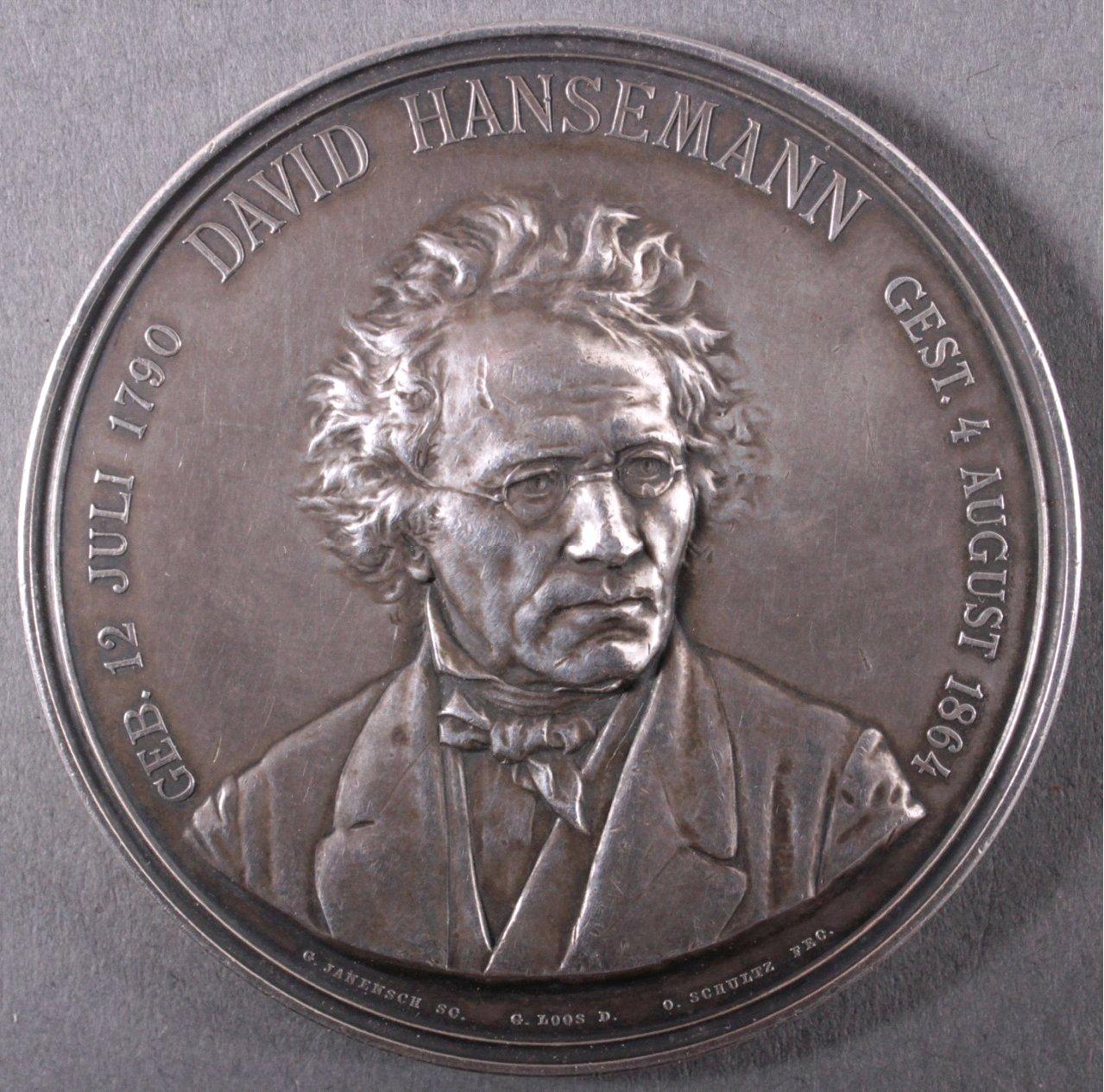 Silber Medaille  David Hansemann, 1864, signiert