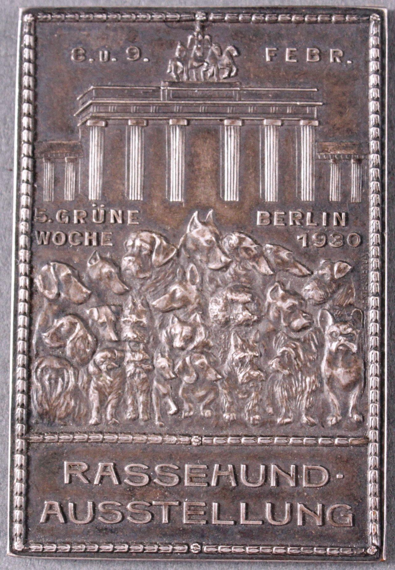 Bronze Plakette, Rassehundeausstellung Berlin 1930