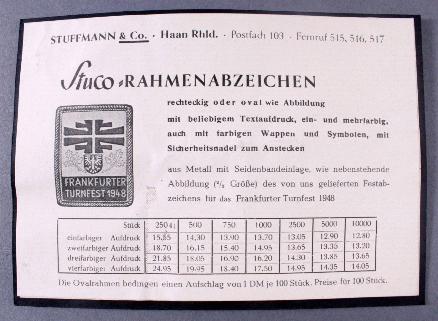 Stuco Abzeichenkarton mit 2 Abzeichen, Löhne und Brackwede-1
