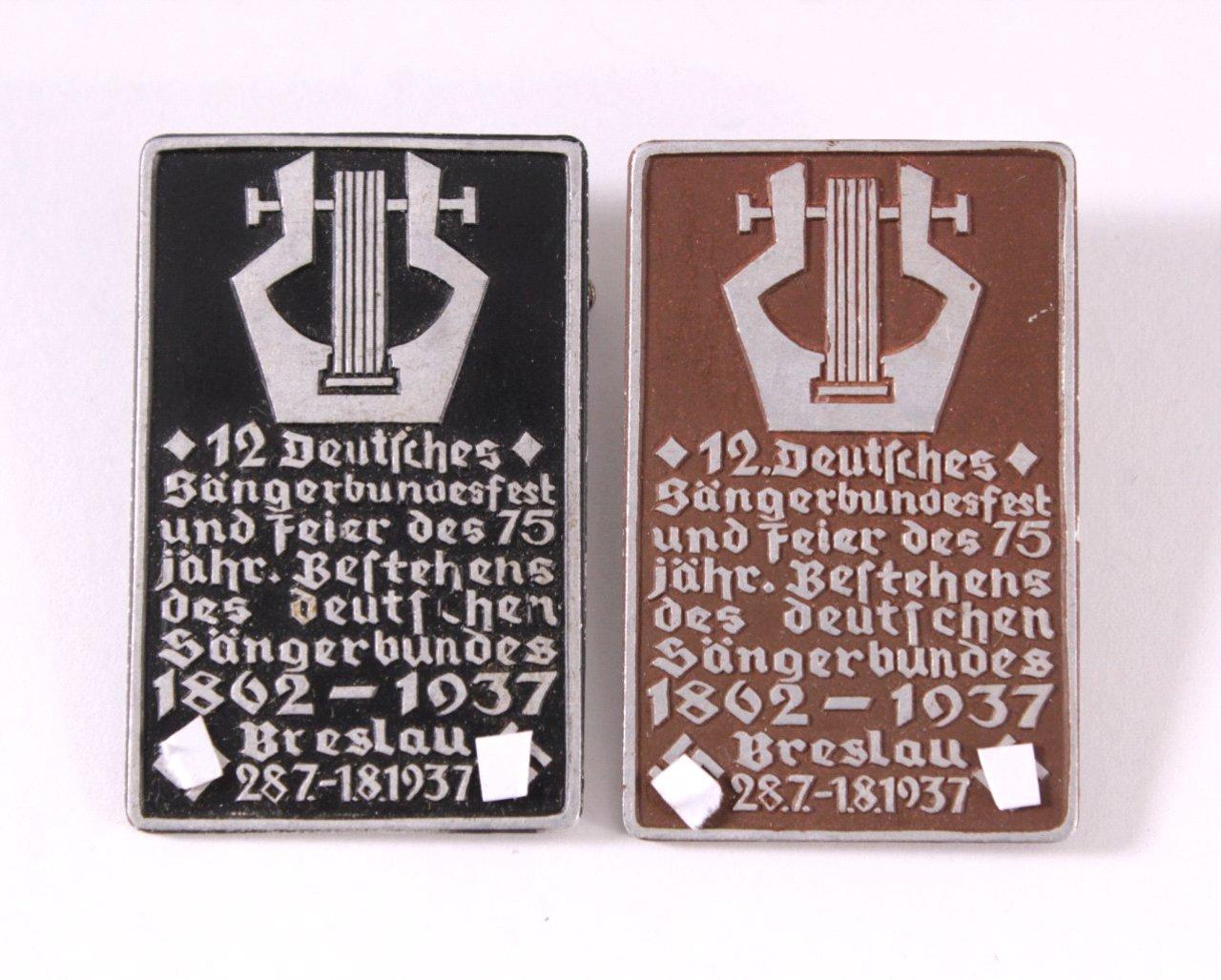 2 Abzeichen 12. Deutsches Sängerbundesfest Breslau 1937