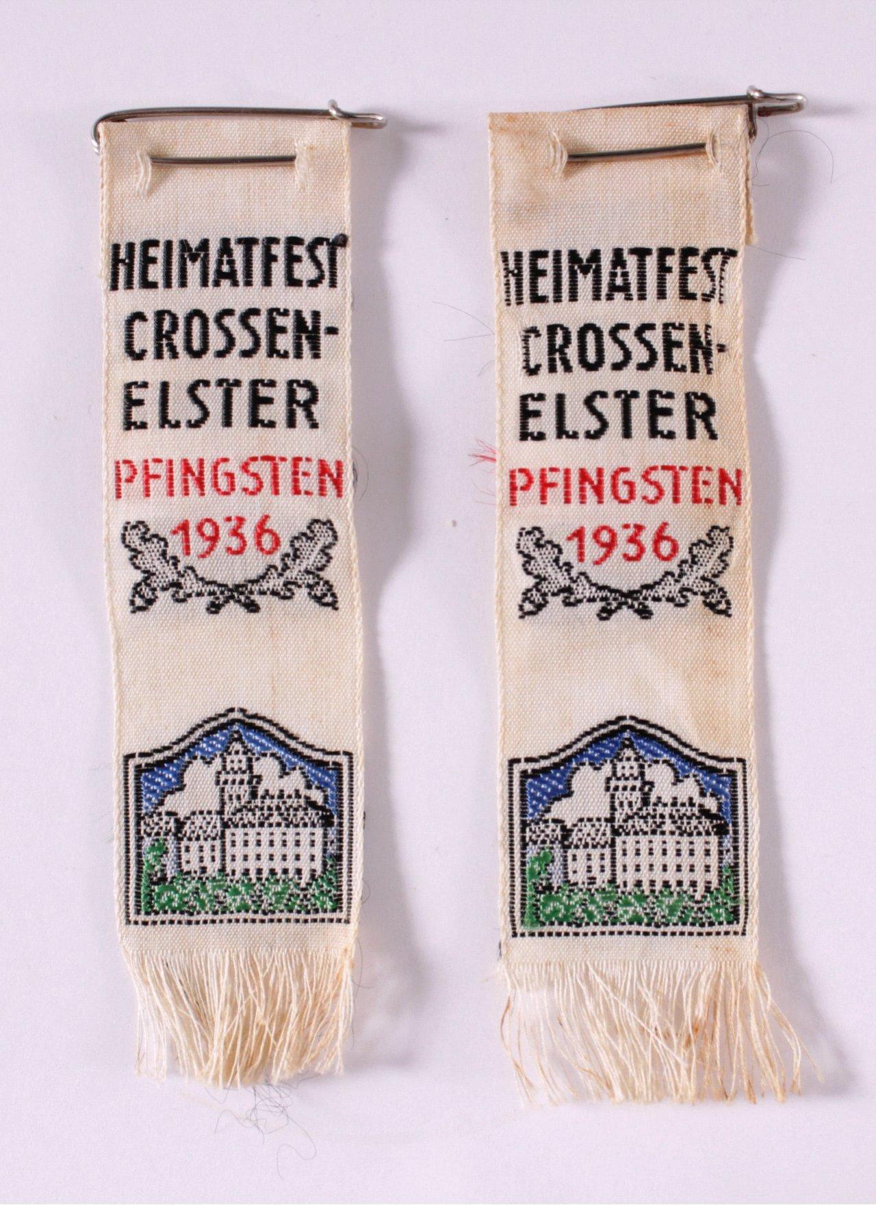 2 Seidenbänder Heimatfest Crossen-Elster, Pfingsten 1936