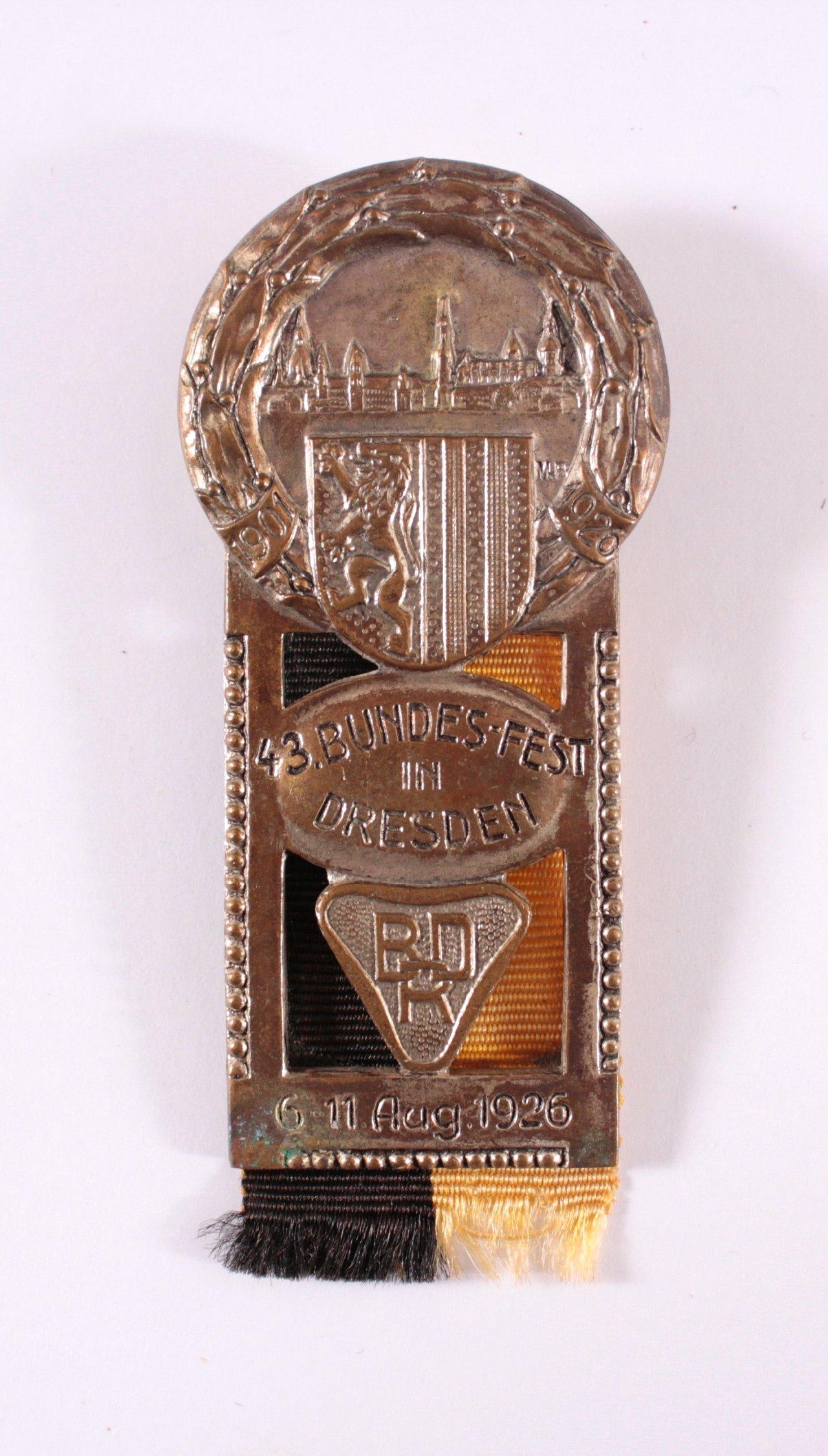 Veranstaltungsabzeichen 43. BDR Bundesfest Dresden 1926