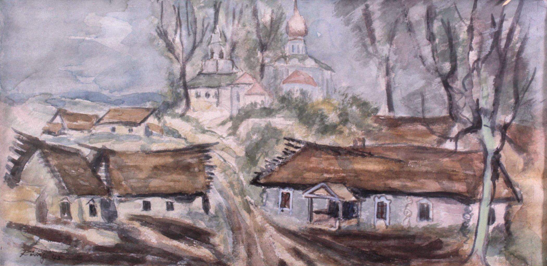 Kurt König 1915-1999, 6 Aquarelle, Russische Landschaft-1
