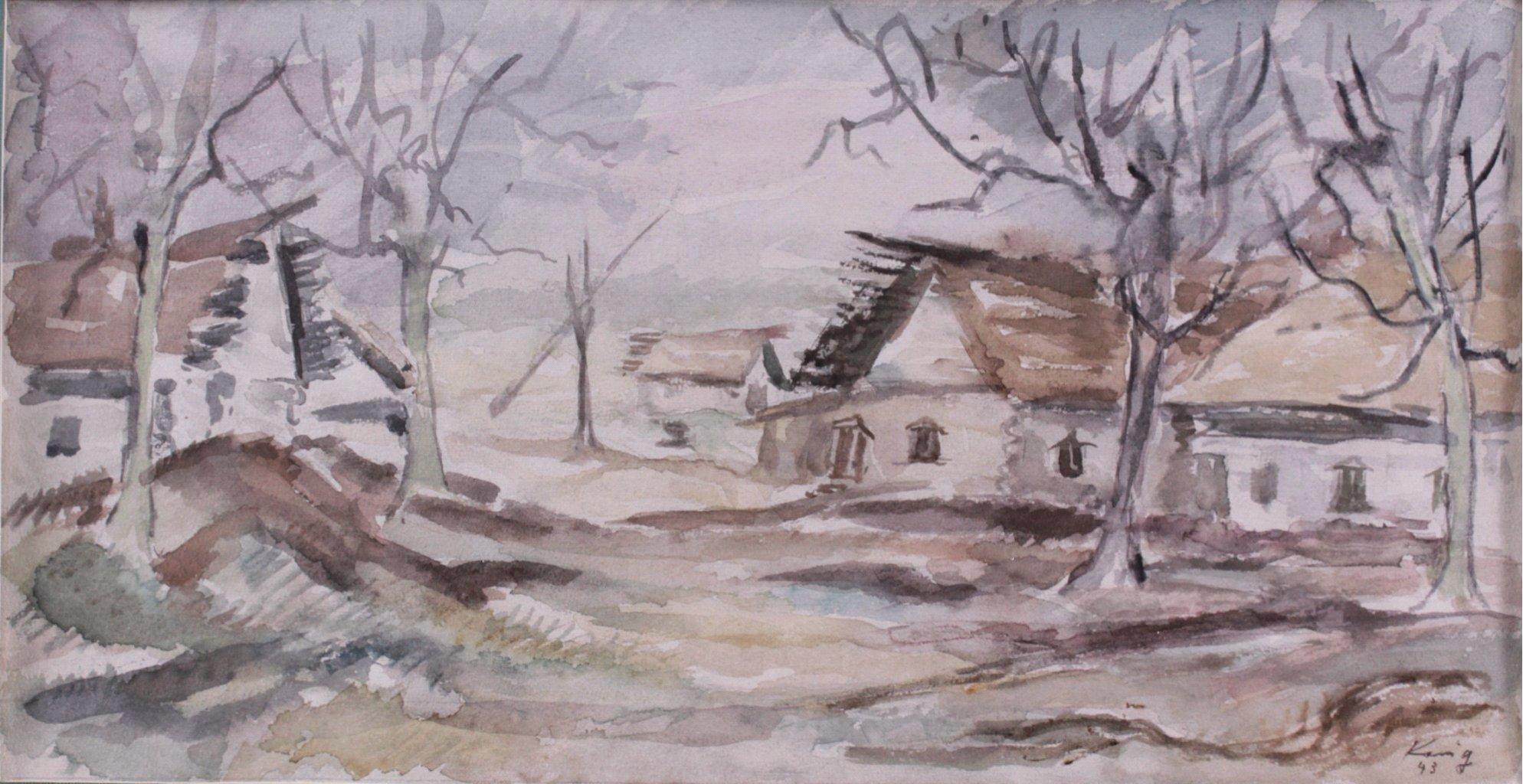 Kurt König 1915-1999, 6 Aquarelle, Russische Landschaft-4
