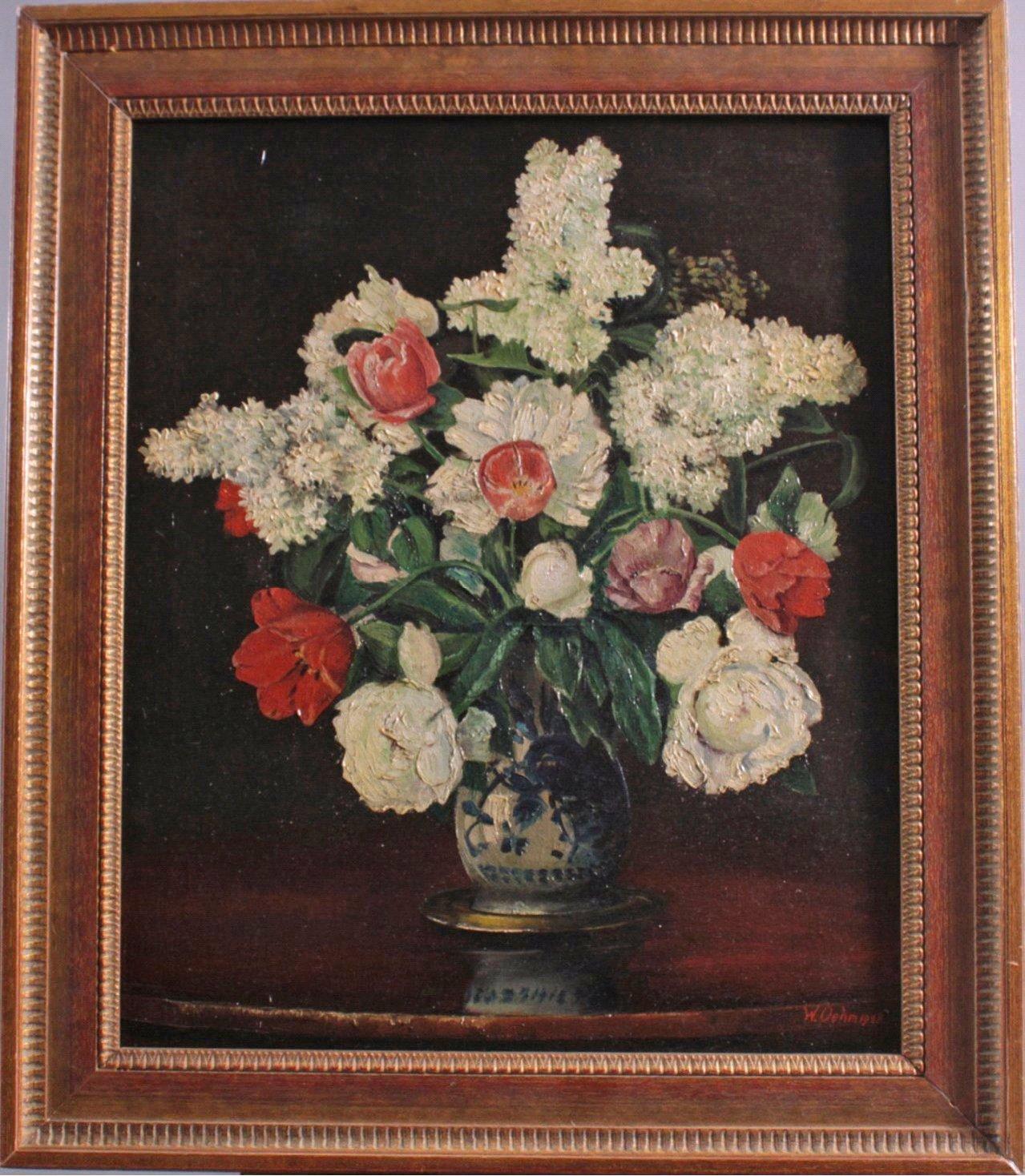Blumenstillleben mit Fayence Vase