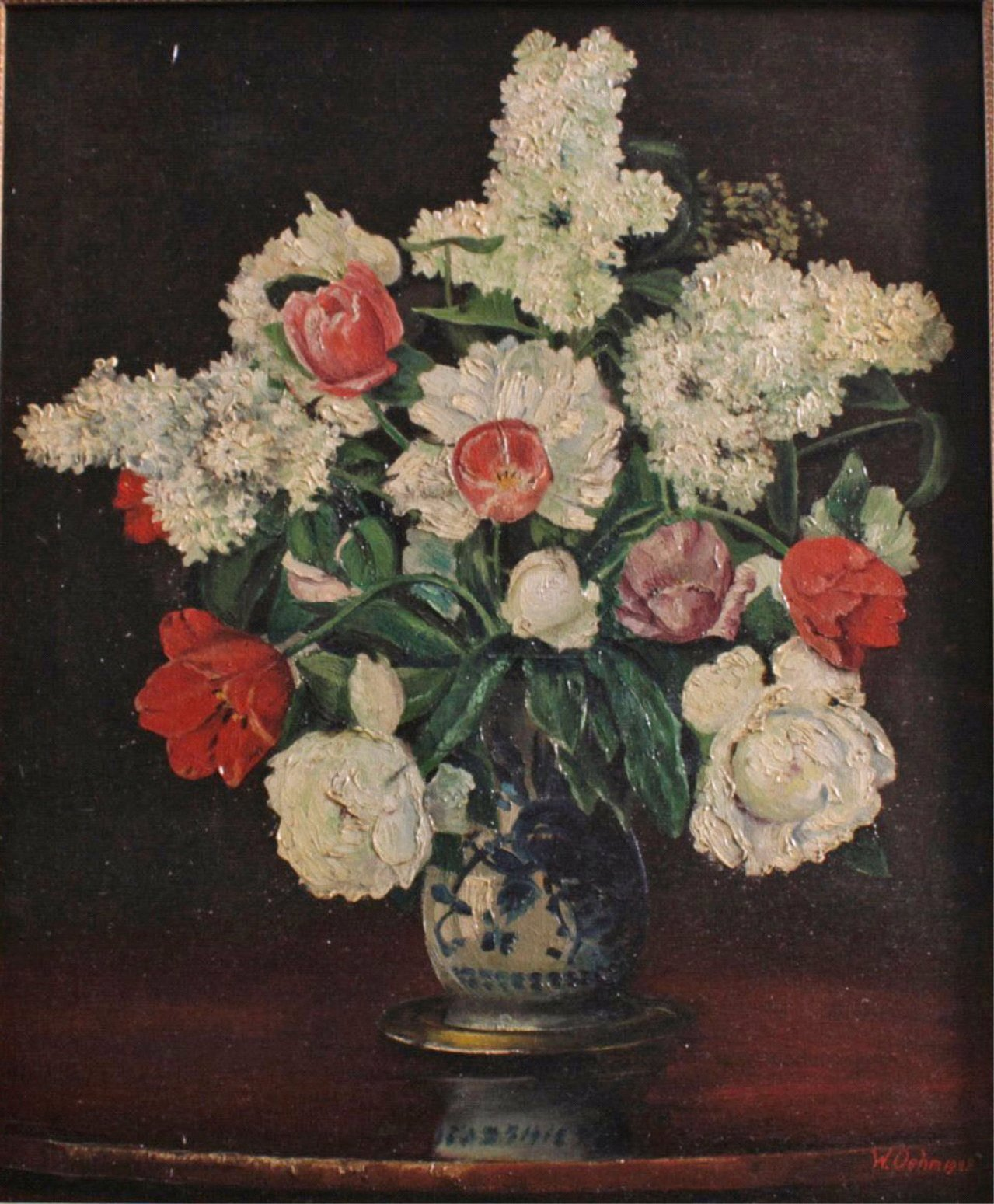 Blumenstillleben mit Fayence Vase-1